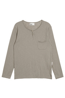 AWESOME IMAGINATIONRaw-Edged Henley ShirtKhaki Beige