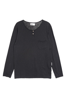 AWESOME IMAGINATIONRaw-Edged Henley ShirtCharcoal