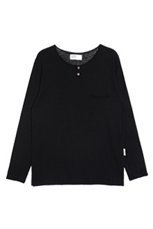 AWESOME IMAGINATIONRaw-Edged Henley ShirtBlack