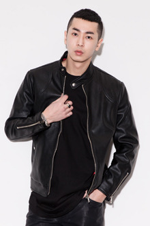 Mandarin Collar Leather Jacket