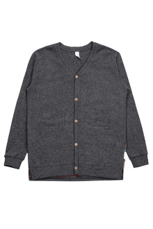 Embroidered Wool Button Cardigan