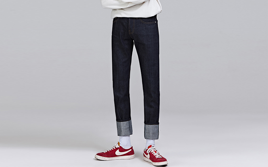 REDHOMME Contrast Tone Stitch Straight Cut Jeans