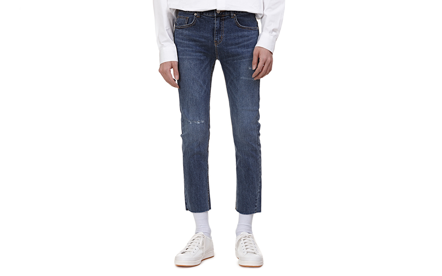 Cropped Whisker Wash Jeans