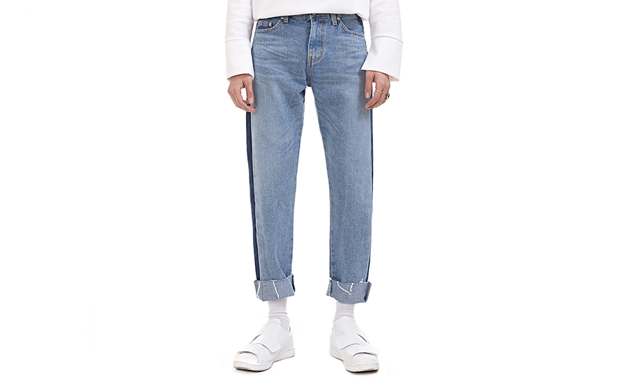 Side Dark Wash Panel Jeans