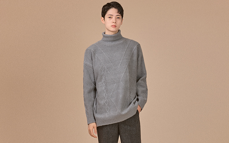 Ribbed Turtleneck Long Sleeve Sweater