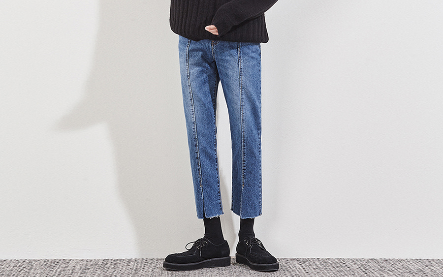 Cropped Paneled Jeans