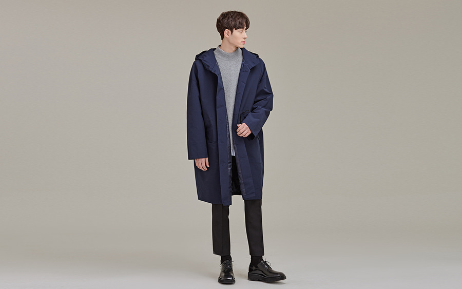 Hooded Front Button Coat