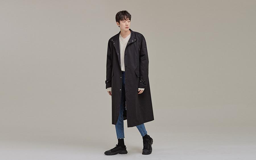 Snap Button High Collar Coat
