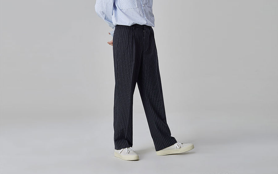 Pleated Pinstripe Slacks