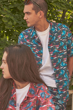 AWESOME IMAGINATION Aloha Print Button Up Shirt(Navy)