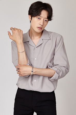 Classic Notched Collar Button-Up Shirt