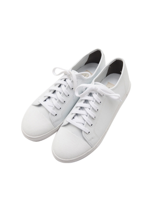 Textured Toe Cap Synthetic Leather Sneakers