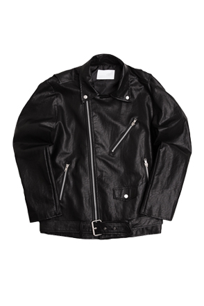Coated Boxy Rider Jacket(Black)