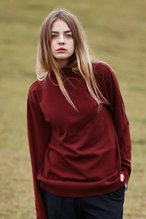 AWESOME IMAGINATIONMock Neck Long Sleeve T-Shirt(Wine)
