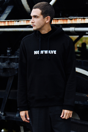 AWESOME IMAGINATIONNEW WAVE Print Hoodie(Black)