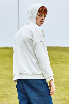 AWESOME IMAGINATION Half Zip Drop Shoulder Hoodie  (White)