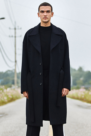 AWESOME IMAGINATION Double Wool Oversized Wrap Coat (Black)