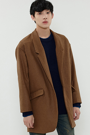 Loose Fit Single Button Coat