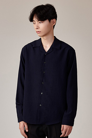 Convertible Collar Solid Tone Button-Up Shirt