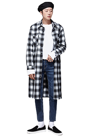 Long Check Print Button-Down Shirt
