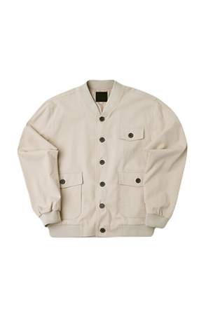 Button-Front Multi-Pocket Bomber Jacket