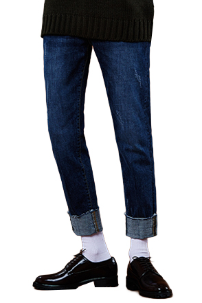 Distressed Whiskered Raw Hem Jeans
