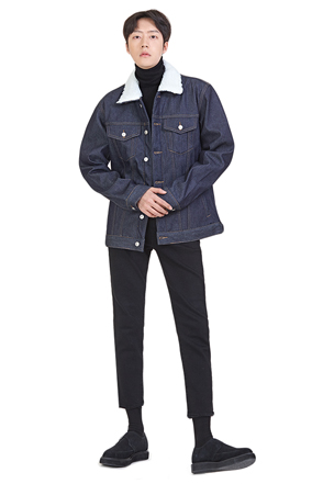 Faux Fleece Collar Denim Jacket