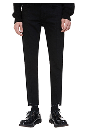 Jagged Hem Black Pants