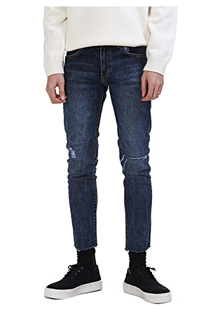 Ripped Knee Raw Hem Jeans