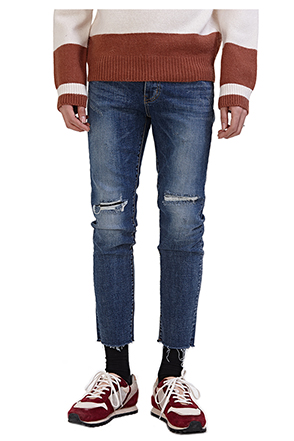 Slashed Whisker Wash Raw Hem Jeans