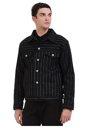 Buttoned Chest Pocket Striped Jacket