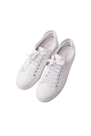 White Synthetic Leather Sneakers