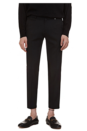 Buttoned Belt Loop Ankle Grazer Trousers