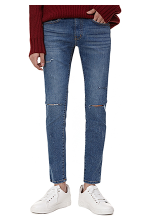 Slash Accent Whisker Wash Slim Fit Jeans