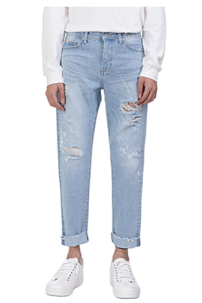 Light Wash Rip Accent Jeans
