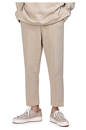 Drawstring Waist Front Seam Accent Pants