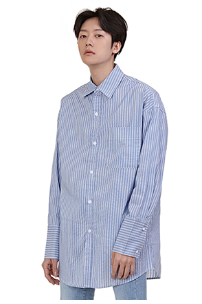 Back Strap Accent Striped Shirt