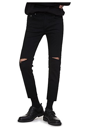 Cropped Slashed Knee Pants