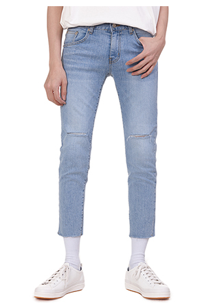 Cropped Slash Accent Whisker Wash Jeans