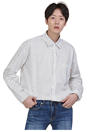 Pencil Stripe Long-Sleeved Button-Down Shirt
