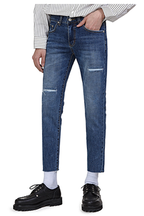 Rip Accent Raw Hem Cropped Jeans