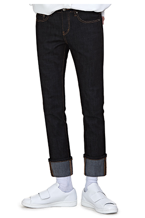 Contrast Tone Stitch Straight Cut Jeans