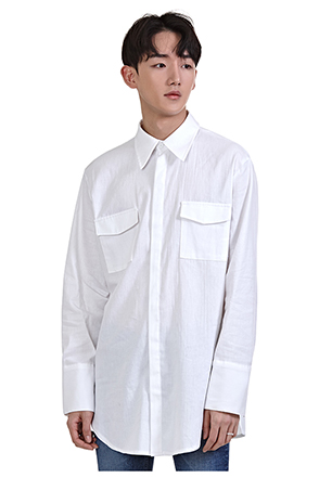 Flap Chest Pocket Longline Shirt