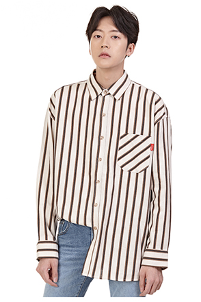 Patch Chest Pocket Striped Button-Down Shirt