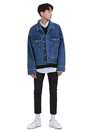 Distressed Edge Collar Denim Jacket