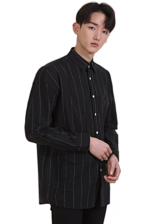 Pencil Stripe Chest Pocket Button-Down Shirt