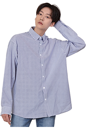 Diagonal Stripe Button-Down Shirt