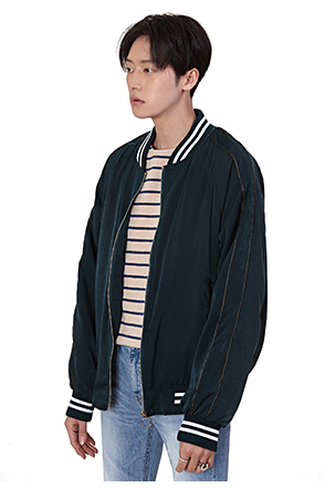 Stripe Accent Zip-Up Bomber Jacket