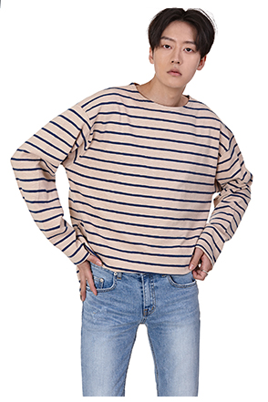 Dropped Shoulder Loose Fit Stripe T-Shirt