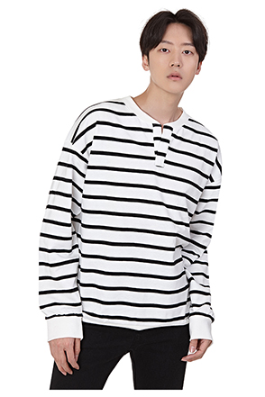 Split Neck Striped T-Shirt